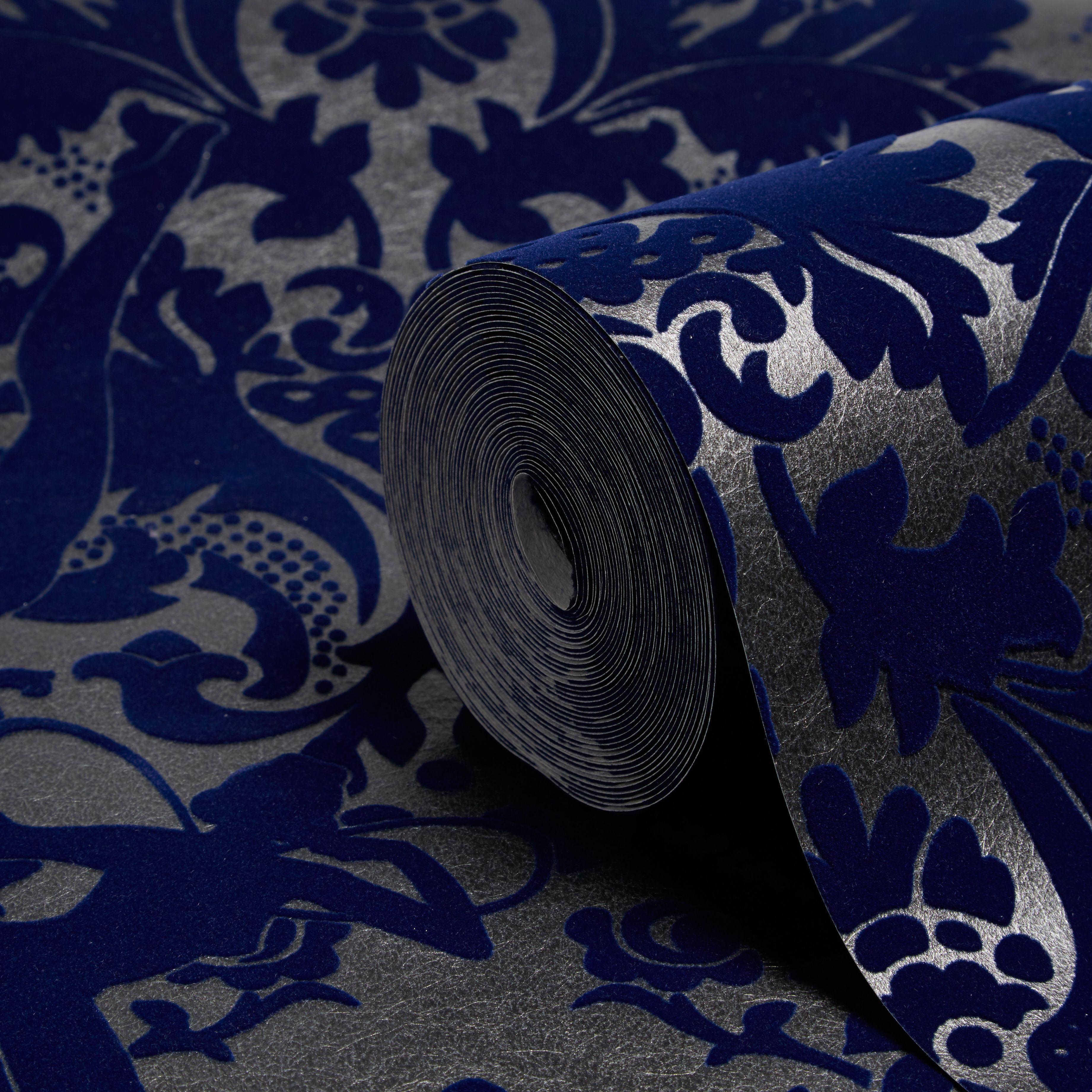 blue damask wallpaper diy