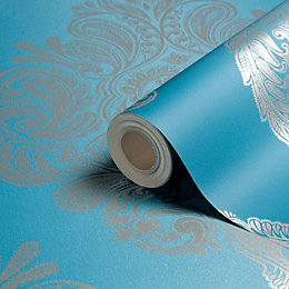 Laurence Llewelyn-Bowen Cote Coutre Blue Damask Wallpaper