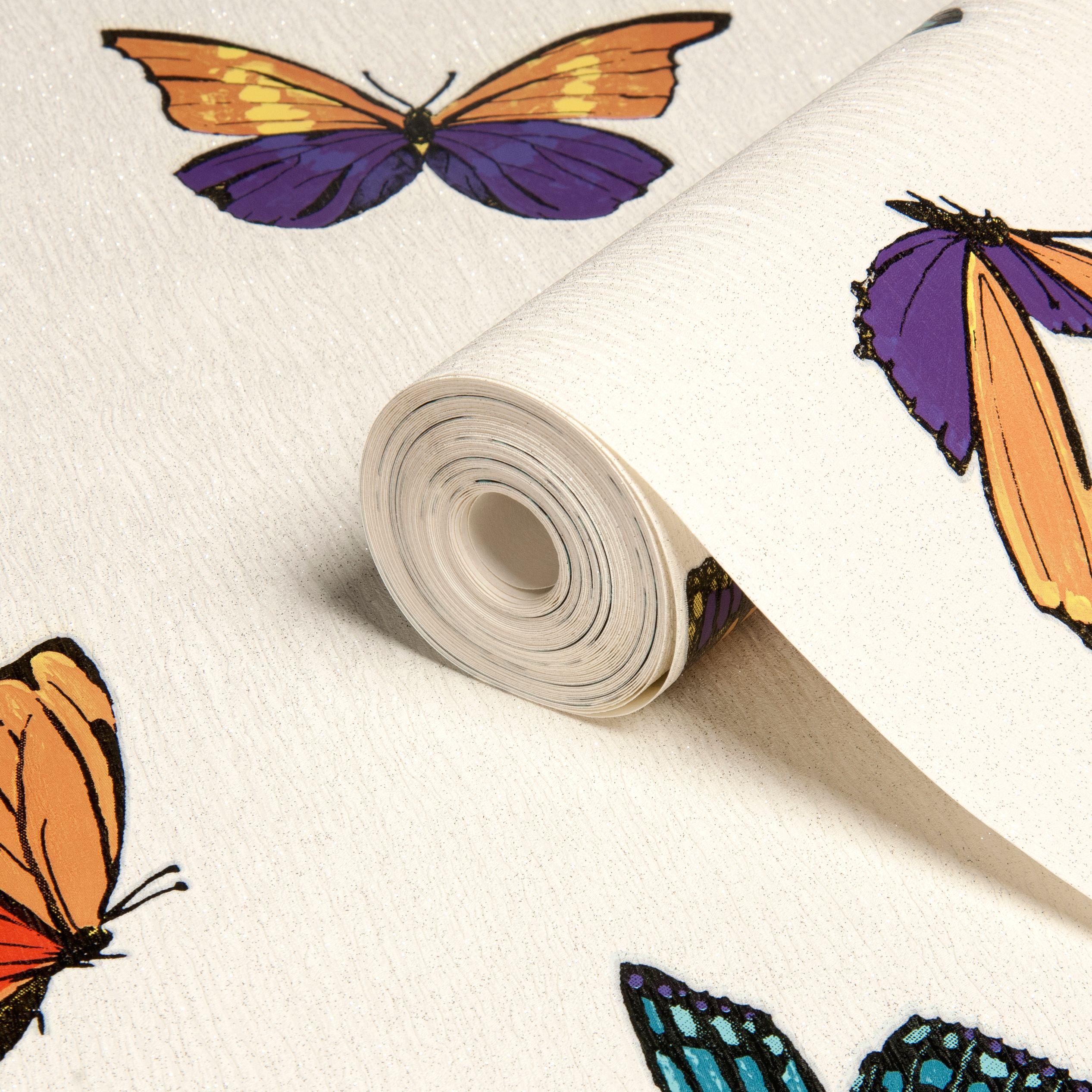 Graham & Brown Julien Macdonald Flutterby Butterfly Glitter & Metallic Effect Wallpaper