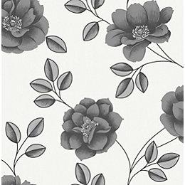 Graham & Brown Superfresco Black Floral Wallpaper