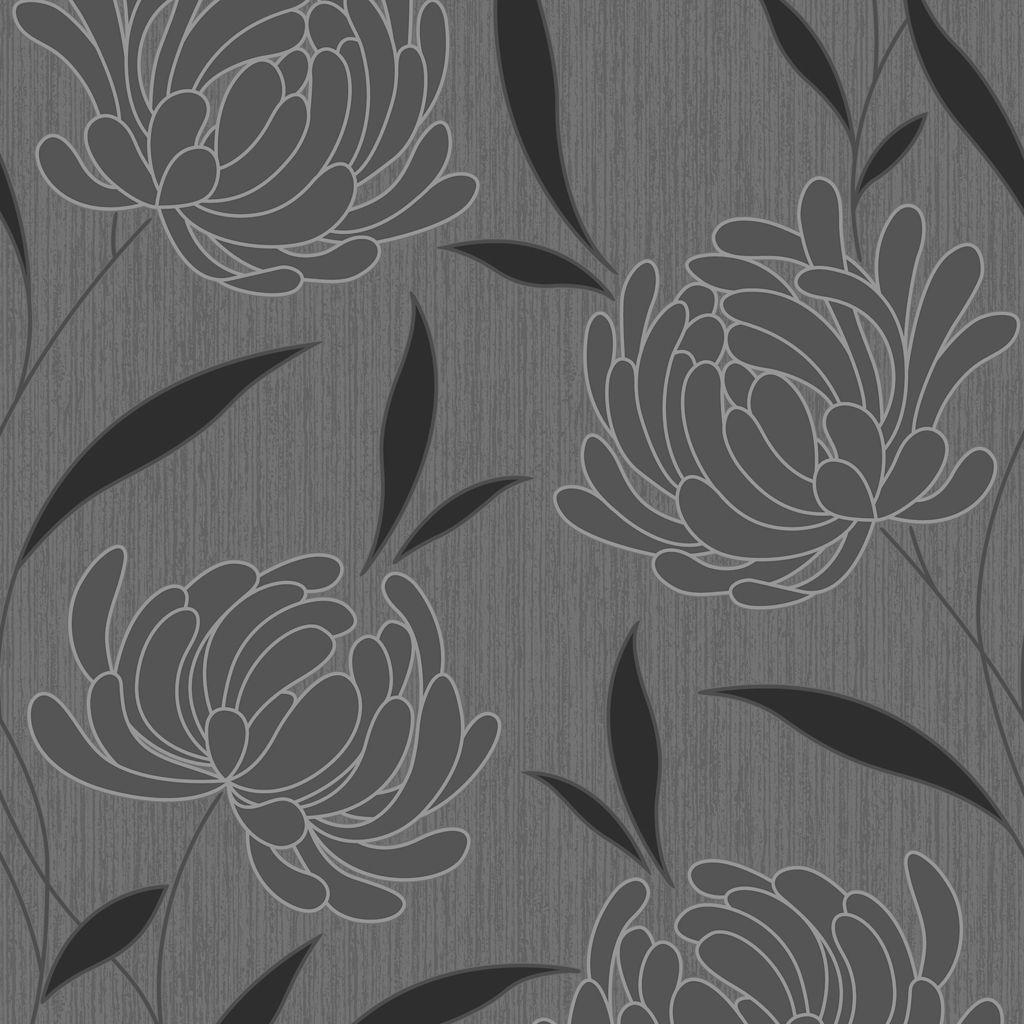 Graham & Brown Nadine Black Floral Wallpaper   Departments ...