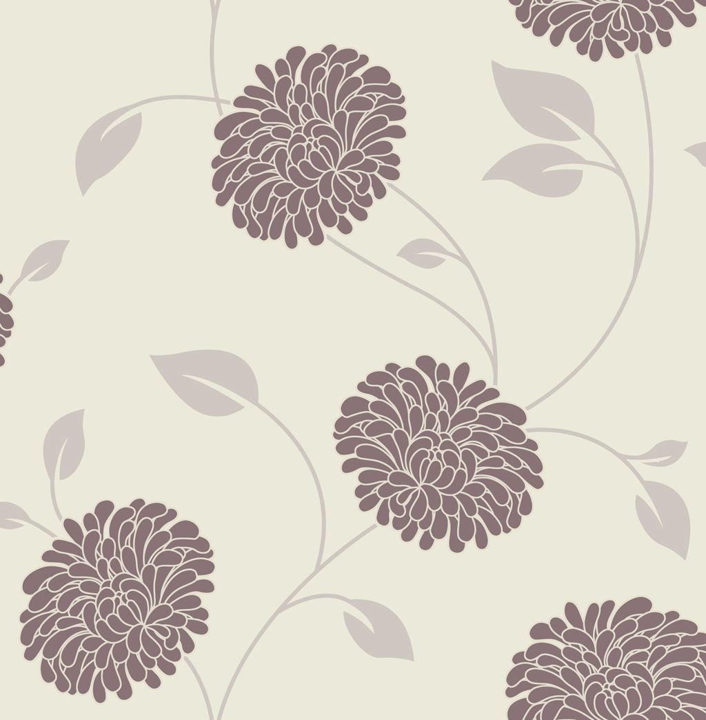 Graham brown superfresco chocolate cream floral for Grey and cream wallpaper
