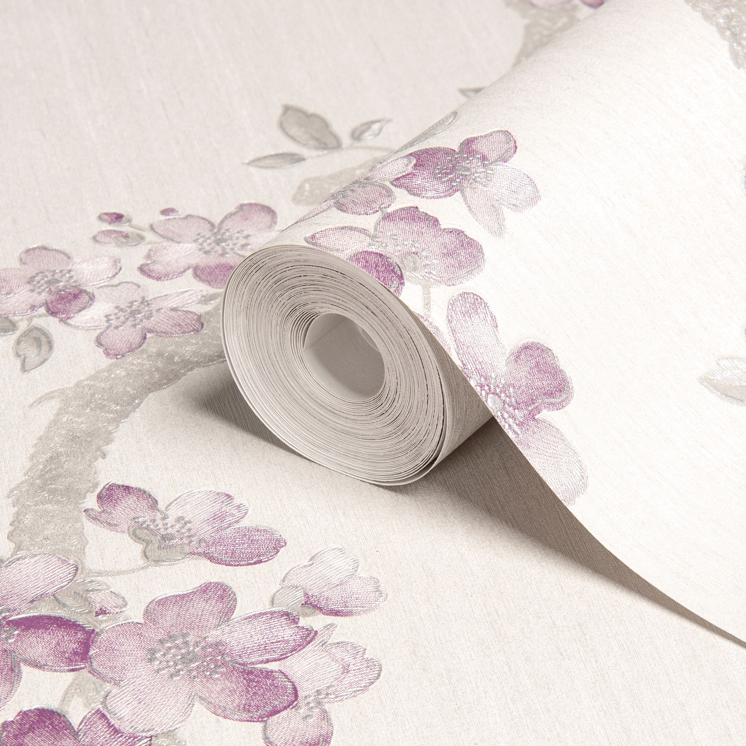 Contour Aurora Wallpaper From B Q: Graham & Brown Mercutio Cream, Grey & Plum Blossom