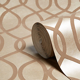 Graham & Brown Kelly Hoppen Taupe Geometric Shimmer