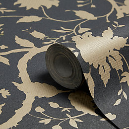 Graham & Brown Kelly Hoppen Charcoal Floral Wallpaper
