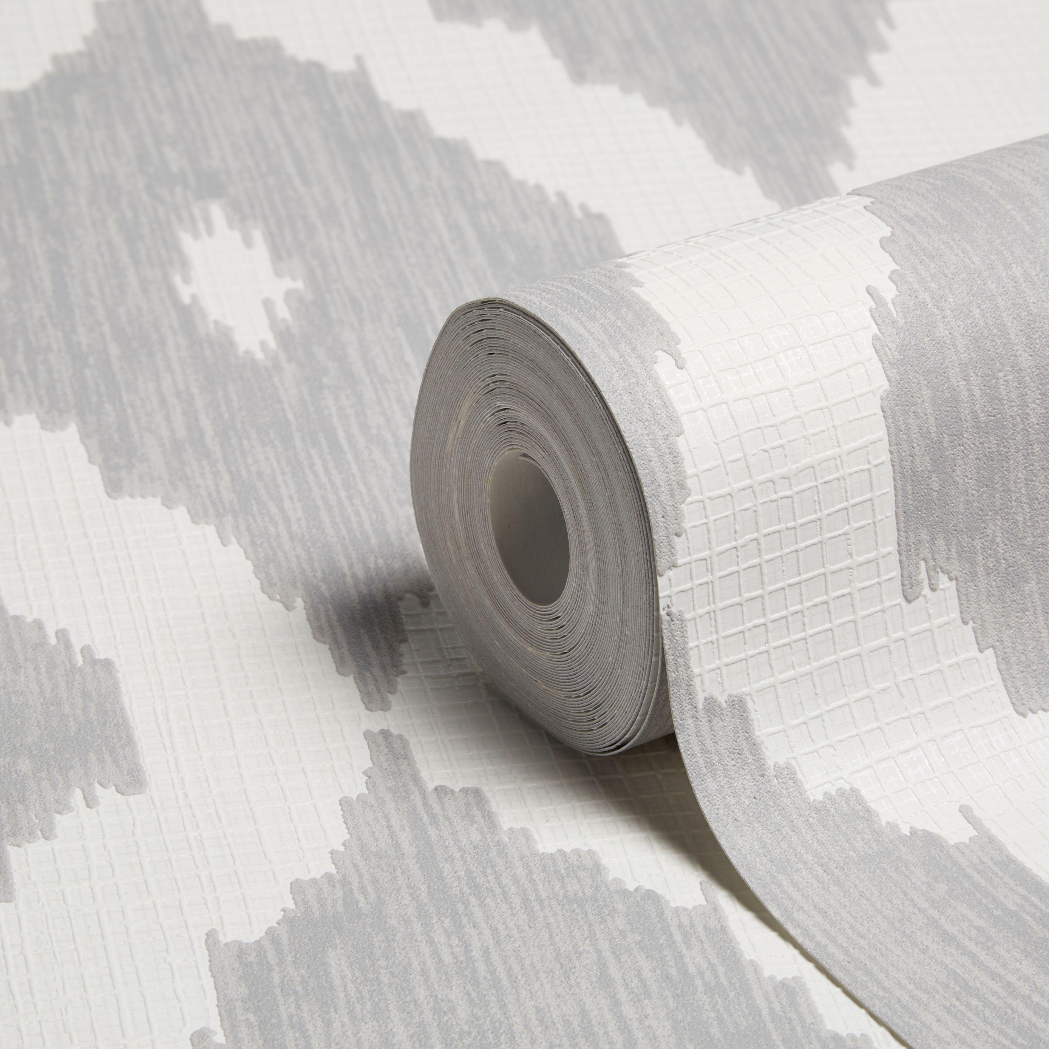 Graham Brown Kelly Hoppen Soft Grey White Geometric Wallpaper