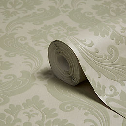 Graham & Brown Kelly Hoppen Moss Damask Wallpaper