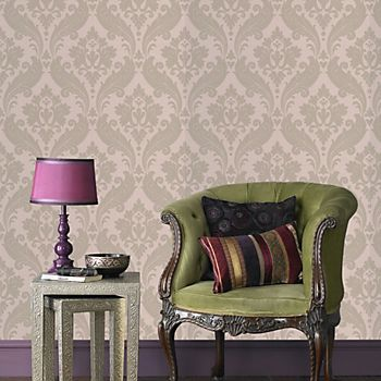 Graham & Brown Kelly Hoppen vintage flock moss damask wallpaper