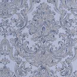 Graham & Brown Montague Blue Damask Wallpaper