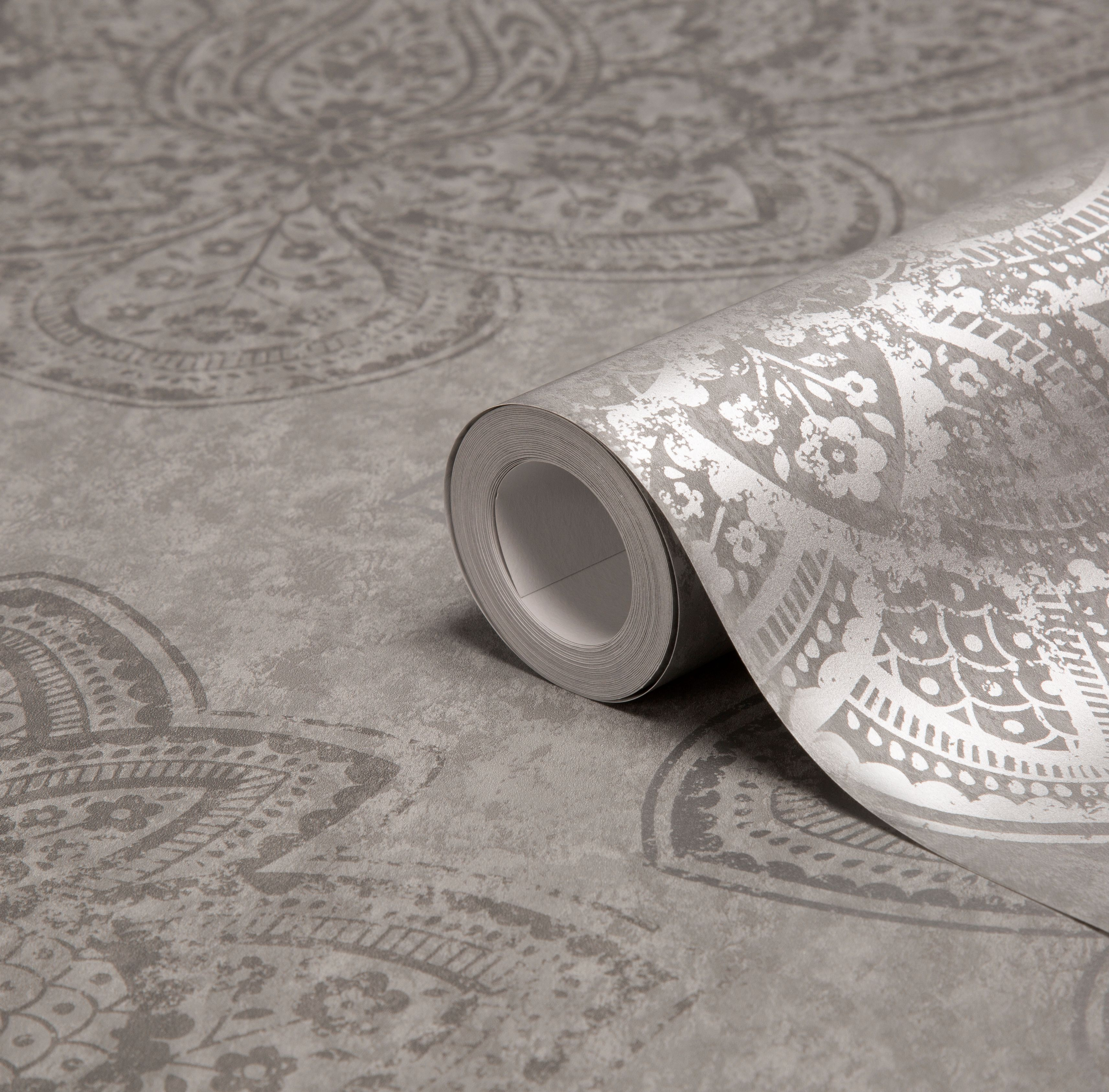 Kitchen Wallpaper At B Q: Graham & Brown Treasure Marcasite Damask Metallic