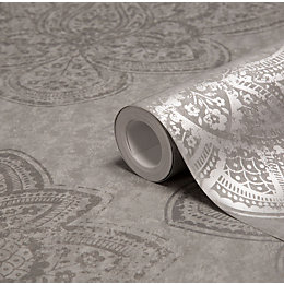 Graham & Brown Treasure Marcasite Damask Metallic Wallpaper