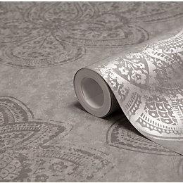 Graham & Brown Treasure Marcasite Damask Metallic Wallpaper