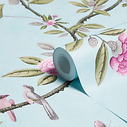 Graham & Brown Chinoiserie Duck Egg Floral Wallpaper