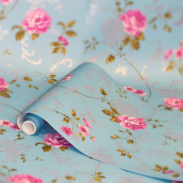 Graham Brown Northern Rose Blue Pink Floral Wallpaper