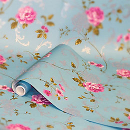 Graham & Brown Northern Rose Blue & Pink