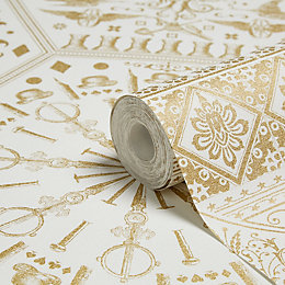 World Heritage Gold Effect & White Floral Wallpaper