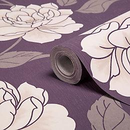 Colours Ella Purple & White Floral Wallpaper