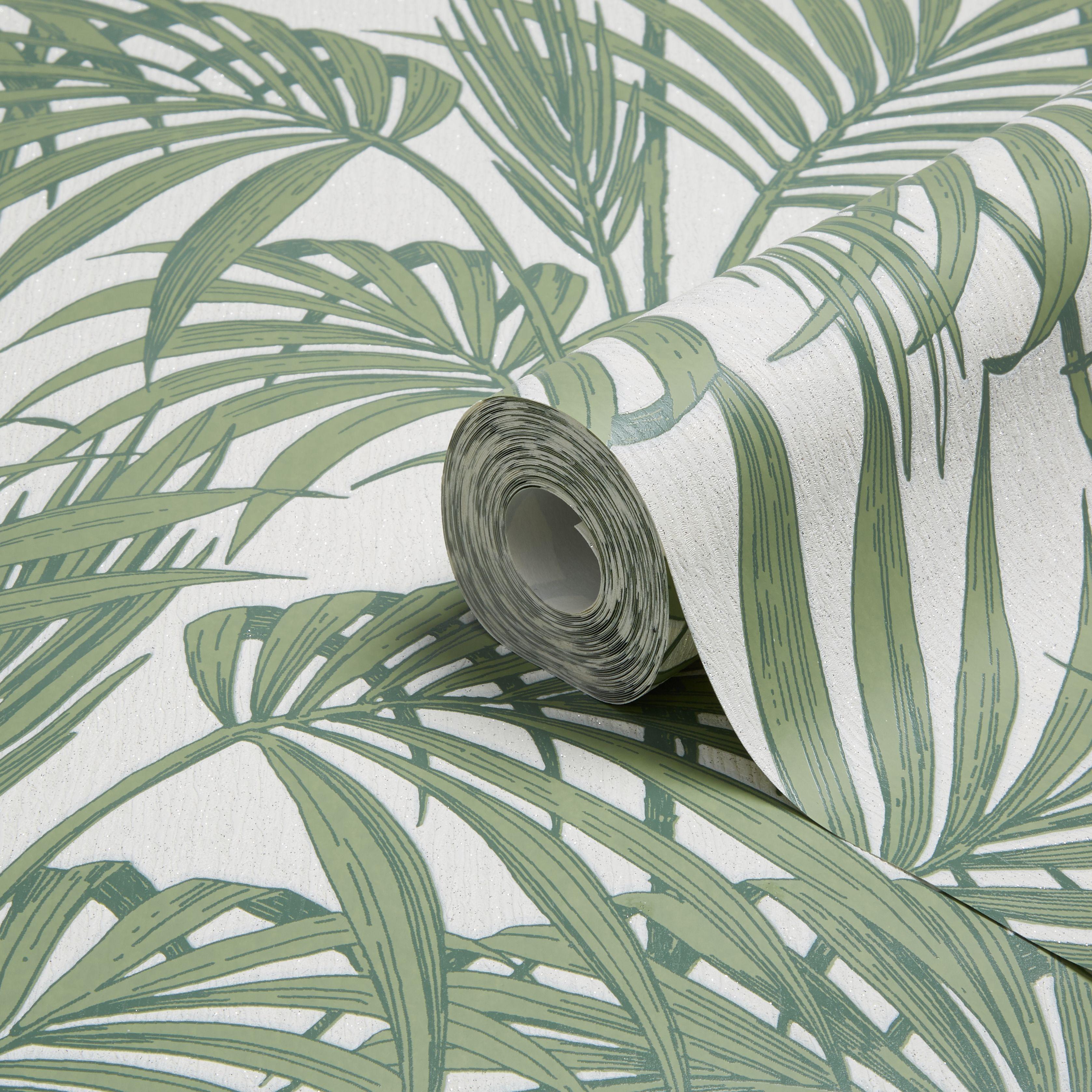 Graham Brown Julien Macdonald Honolulu Palm Green Foliage Glitter Effect Wallpaper