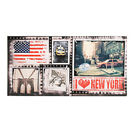 I Love New York Multicolour Canvas Art (W)100cm