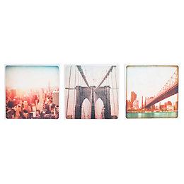 New York Pastel Canvas Art Set (W)30cm (H)30cm