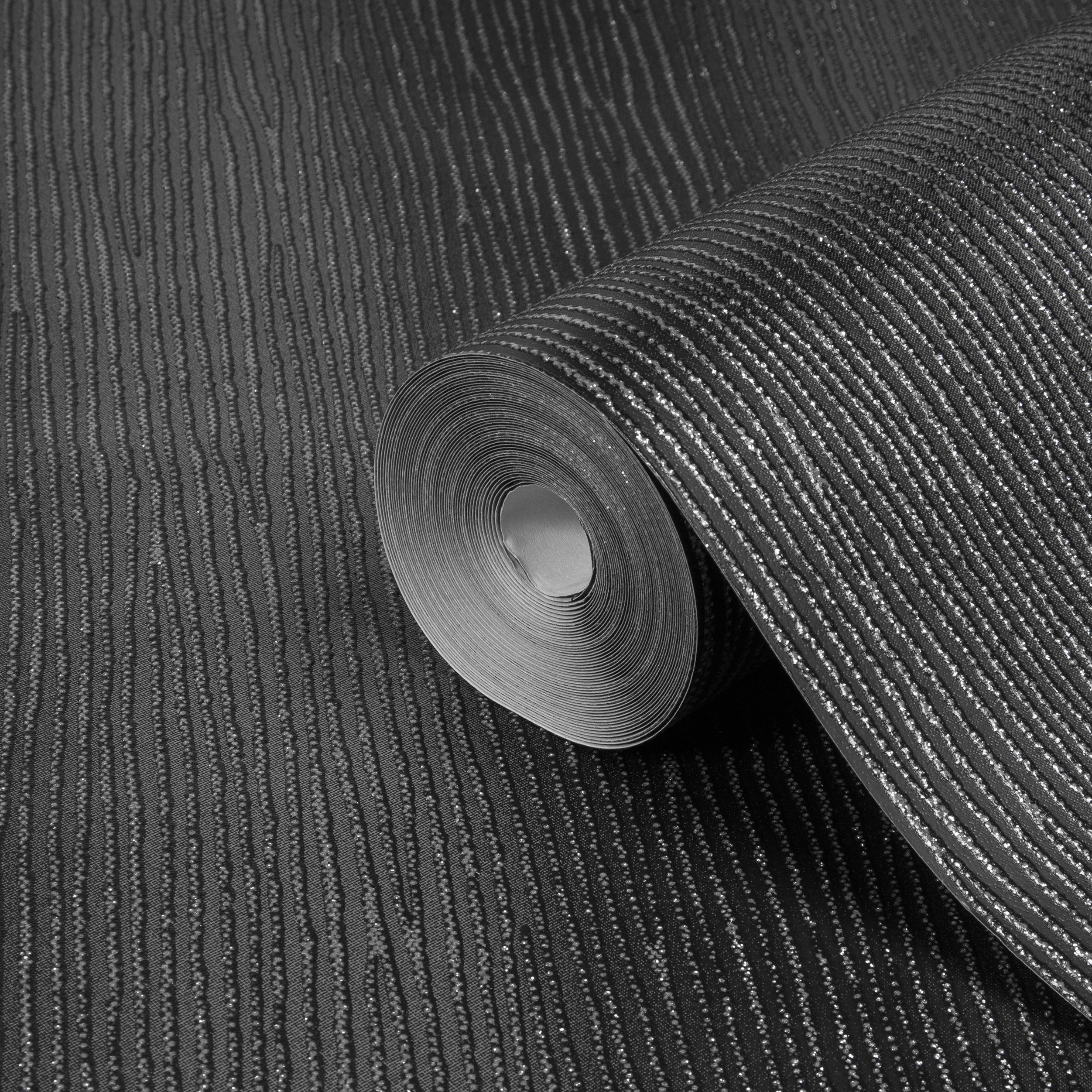 Graham Brown Valentino Black Striped Glitter Effect Wallpaper Departments Diy At B Q