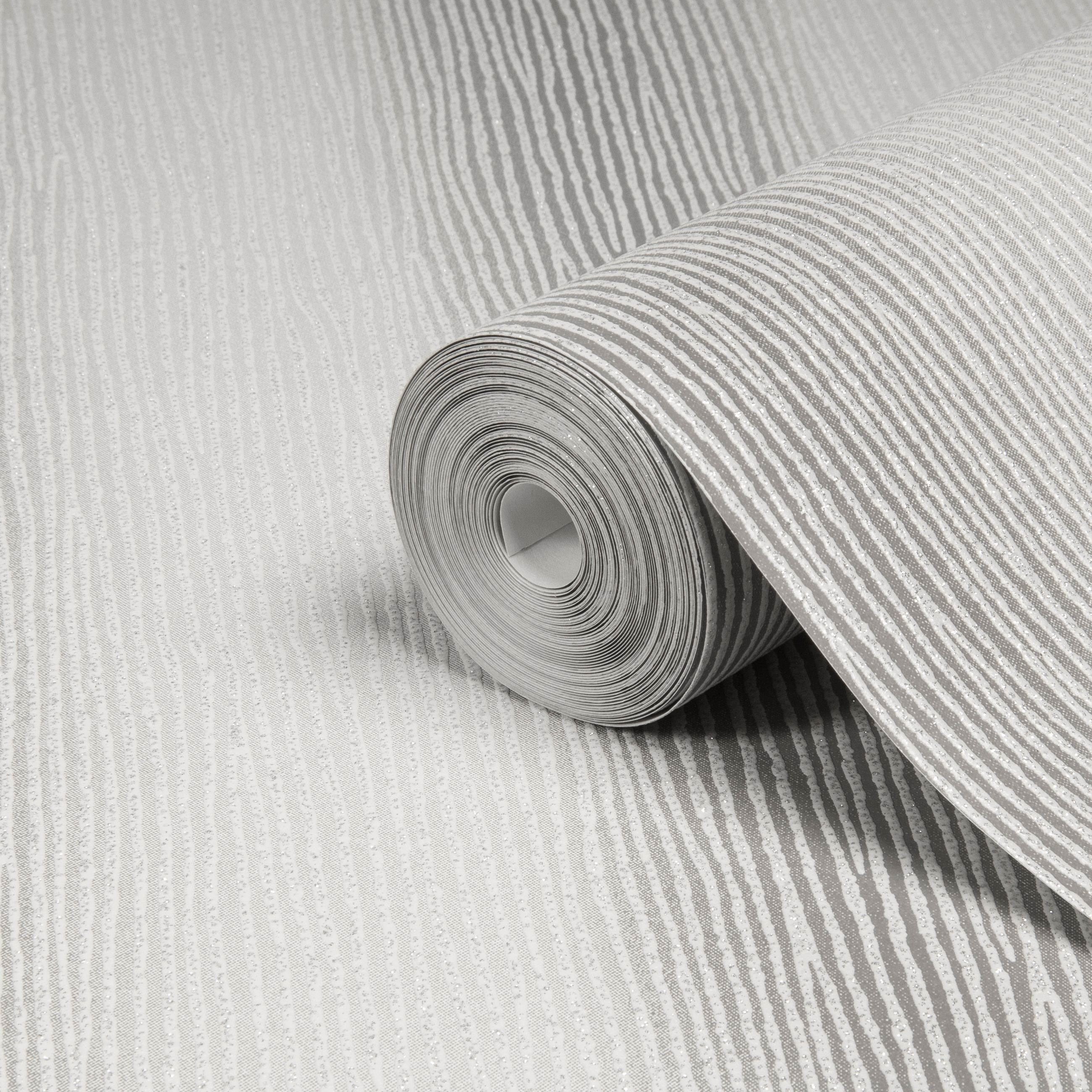 Graham Brown Valentino Silver Striped Glitter Effect Wallpaper