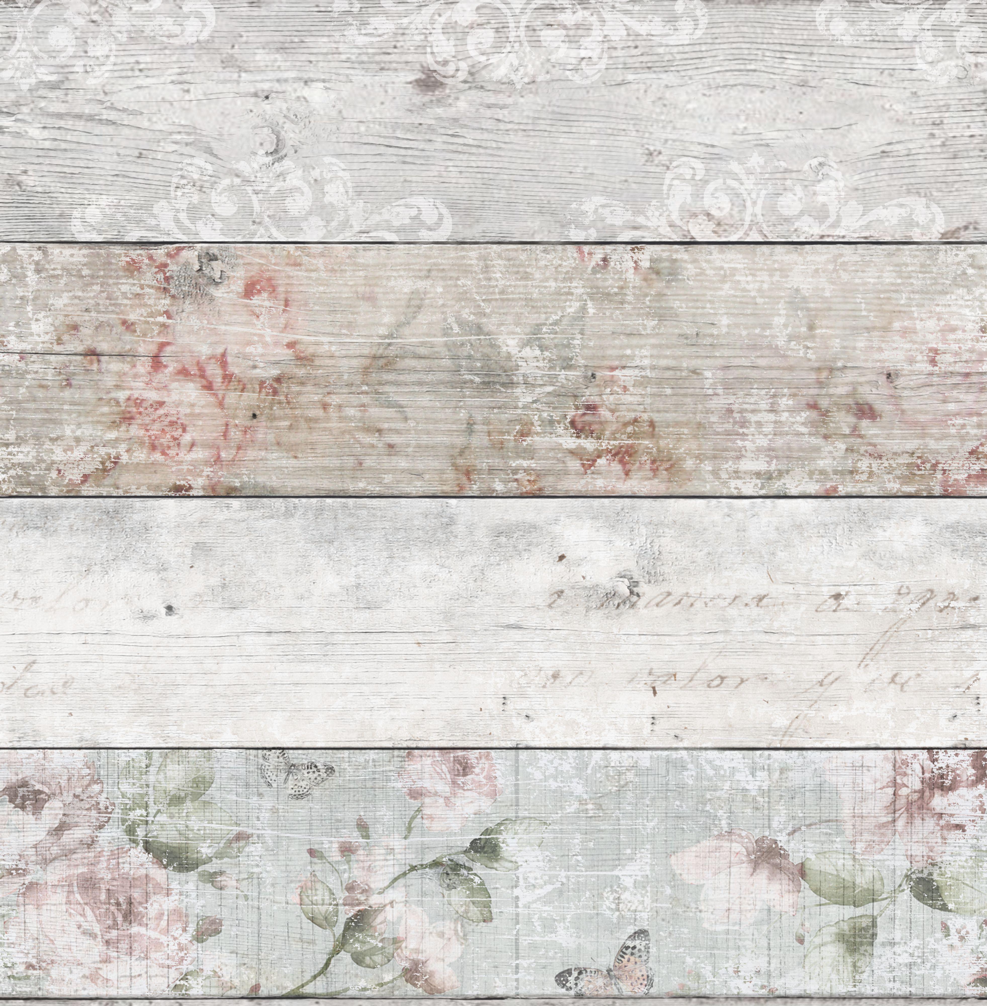 Graham & Brown Fresco Grey & Pink Distressed Floral Wood