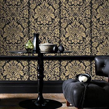 Graham & Brown Artisan black and gold Gloriana metallic wallpaper