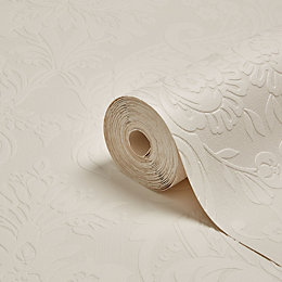 Graham & Brown Superfresco White Damask Paintable Wallpaper