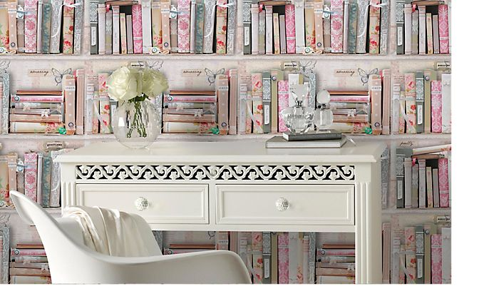 Graham and Brown Fresco pink collage bookshelf wallpaper