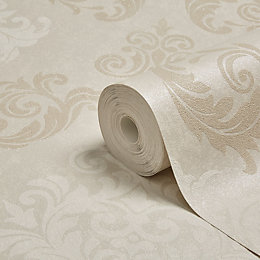 Graham & Brown Elegance Neutral Damask Mica Wallpaper