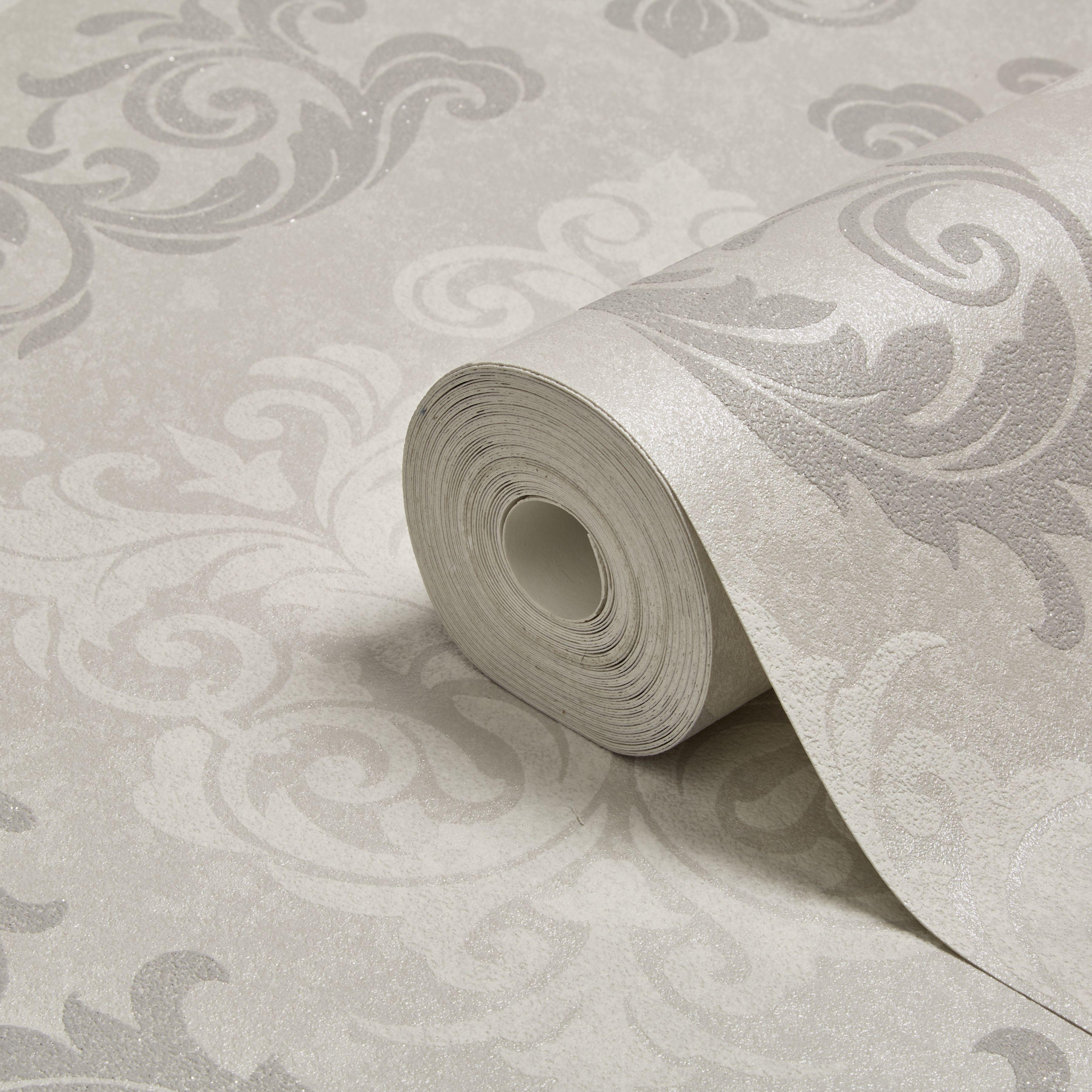 Graham Brown Elegance Silver Damask Mica Wallpaper
