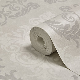 Graham & Brown Elegance Silver Damask Mica Wallpaper