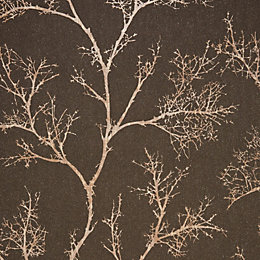 Graham & Brown Brown & Gold Icy Trees