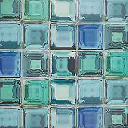 Graham & Brown Contour Blue Glass Brick Kitchen