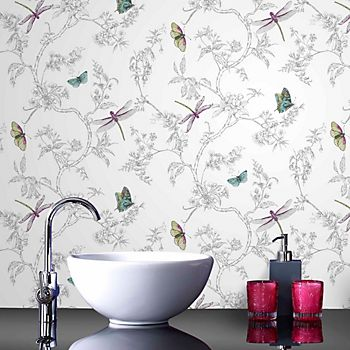Graham & Brown contour white and silver nature trail embossed vinyl wallpaper