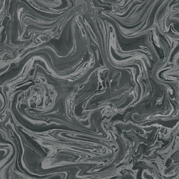 Graham & Brown Pure Black & Grey Marbled