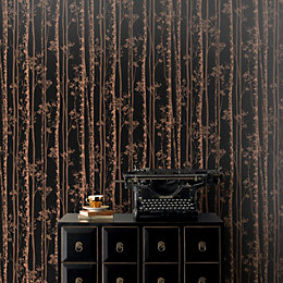 Pure Black & Copper Linden Metallic Effect Wallpaper