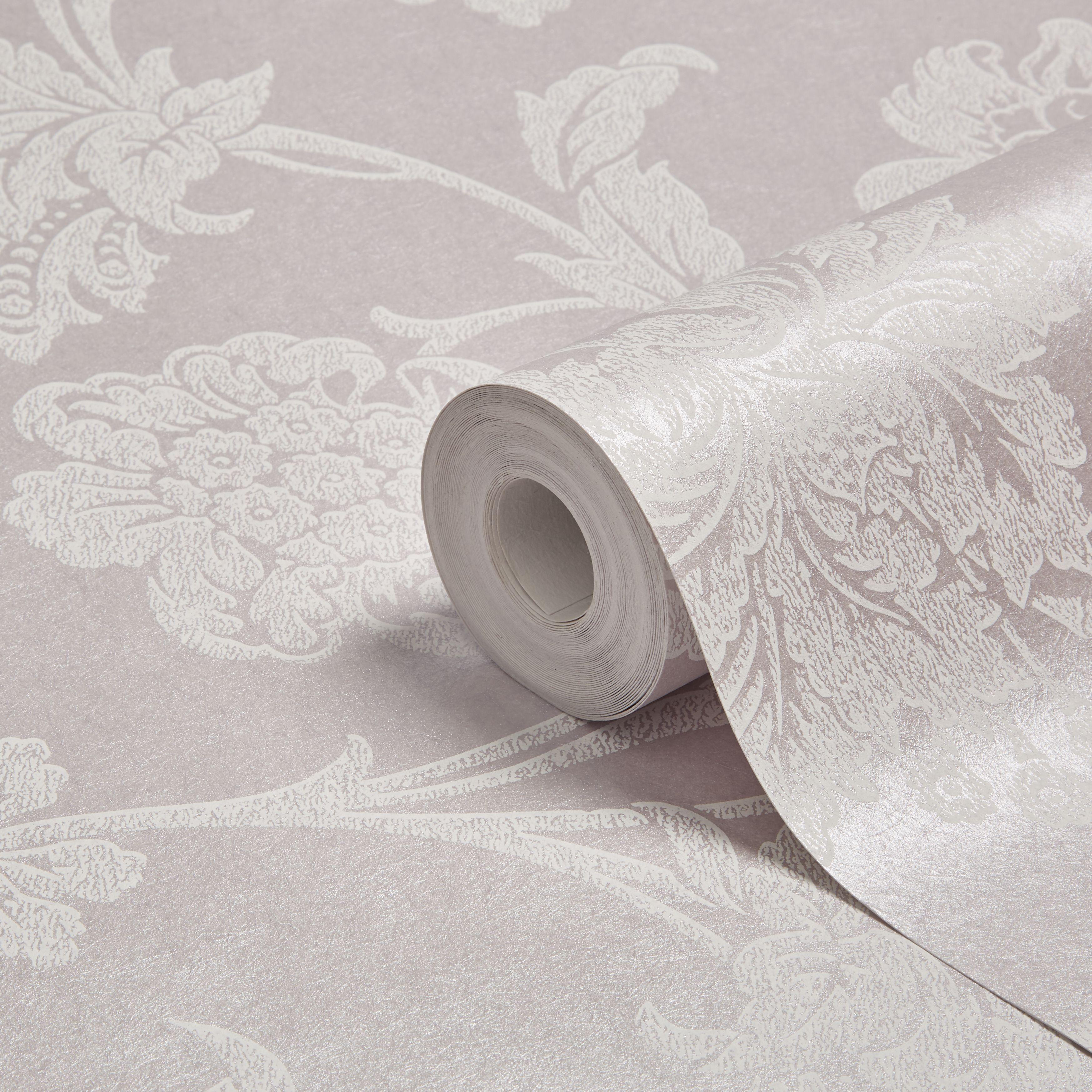 Graham & Brown Fibrous Sandringham Lilac & White Floral Metallic Wallpaper