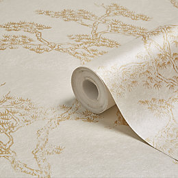 Graham & Brown Fibrous Richmond Gold & White