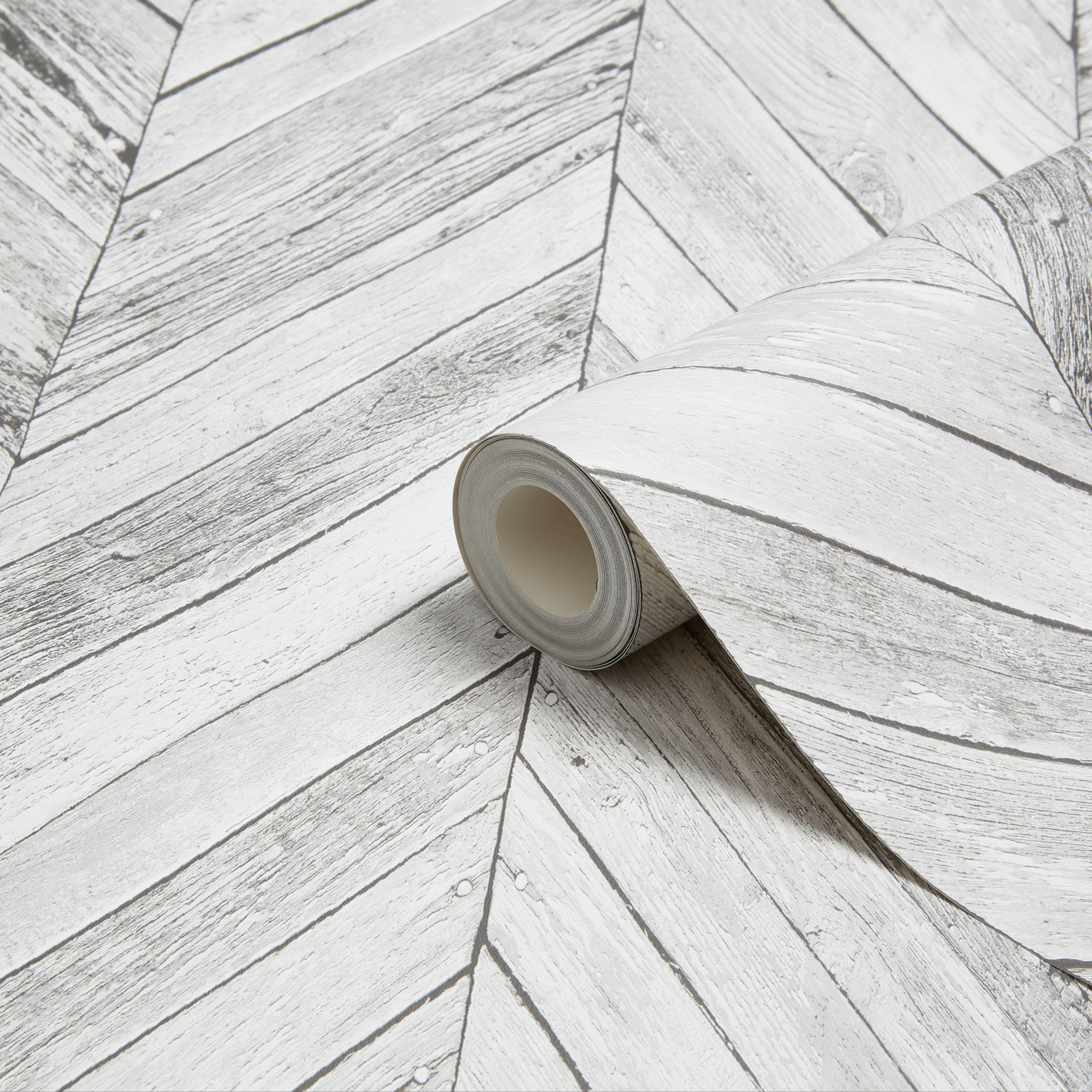 Graham & Brown Fresco Grey Herringbone Wood Wallpaper ...