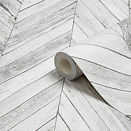 Graham & Brown Fresco Grey Herringbone Wood Wallpaper
