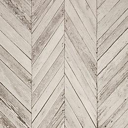 Graham & Brown - Fresco Grey Herringbone Wood