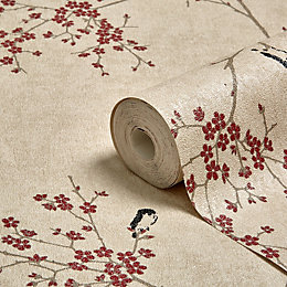 Graham & Brown Beige & Red Oriental Blossom