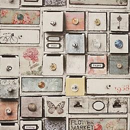 Graham & Brown - Fresco Apothecary Drawers Wallpaper