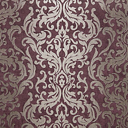 Graham & Brown Drama Purple Damask Metallic Wallpaper