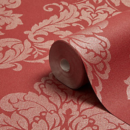 Graham & Brown Gothica Red Damask Metallic Wallpaper