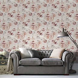 Fresco Blush Romantic Ink Wallpaper
