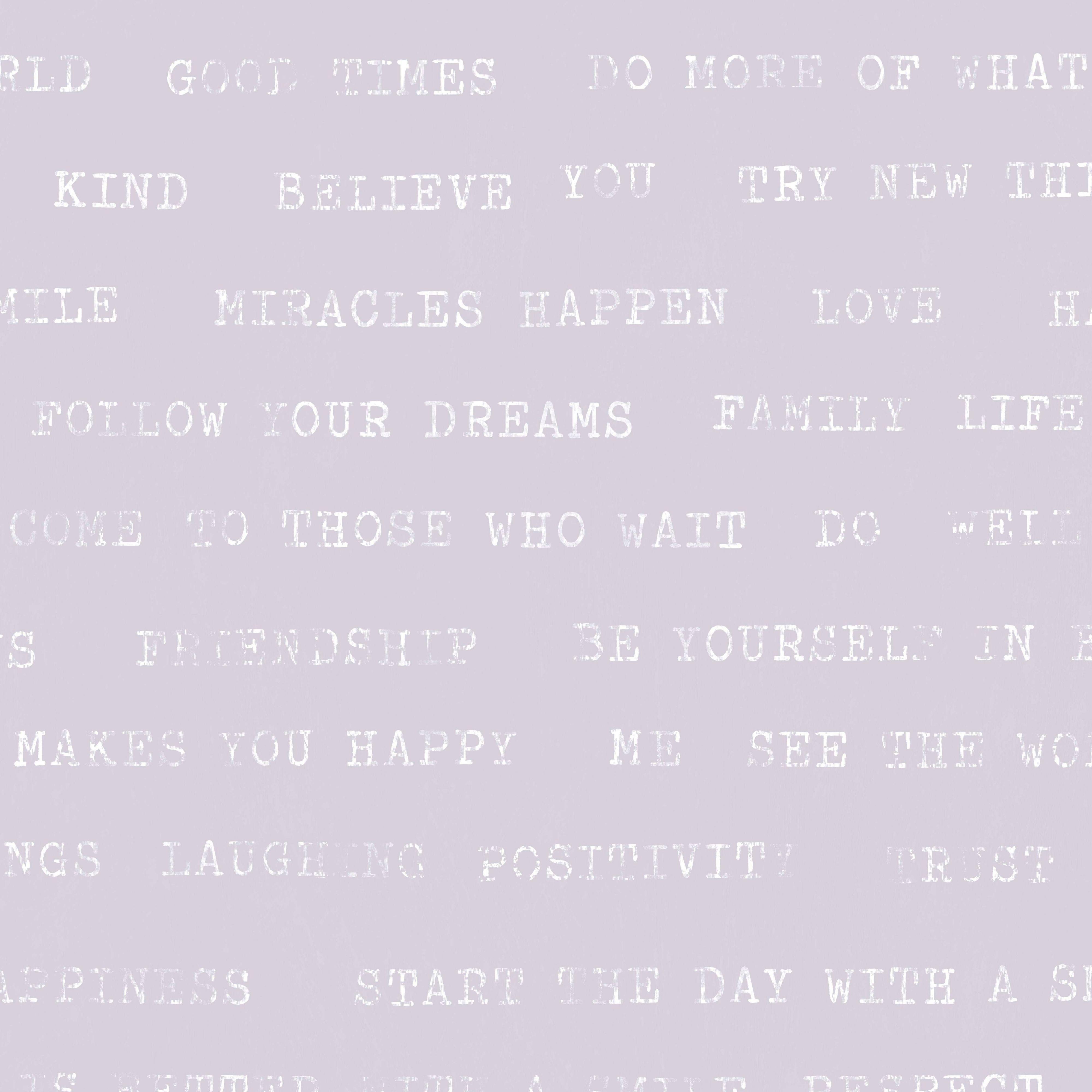 Graham & Brown Superfresco Lilac Text Wallpaper