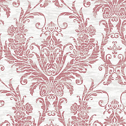 Graham & Brown Cream & Red Damask Glitter